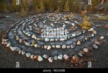 Rock méditatif labyrinthe dans le soleil du soir.