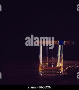 Whisky et cigare vous détendre Banque D'Images