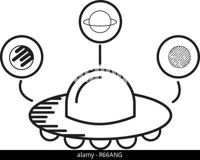 Astrologie planètes cartoon spaceship ovni Banque D'Images