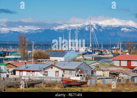 Puerto Natales au Chili Banque D'Images