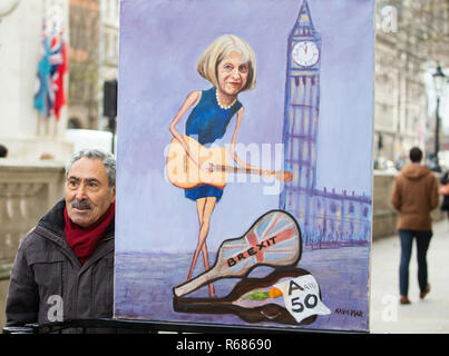 Londres, Royaume-Uni. 08Th Nov, 2018. Artiste satyrique, Kaya Mar, avec son portrait de Theresa May et son Brexit Crédit : position Tommy Londres/Alamy Live News Banque D'Images