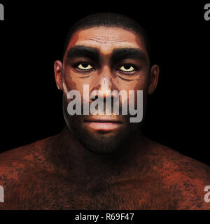 Digital 3D Illustration d'un Homo Erectus