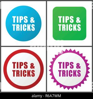 Astuces Conseils rouge, bleu, vert et rose vector icon set. Web icons. Signes et symboles design plat facile à éditer Banque D'Images
