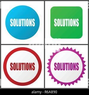 Solutions rouge, bleu, vert et rose vector icon set. Web icons. Signes et symboles design plat facile à éditer Banque D'Images