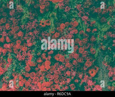 De belles roses rouges frais et différents types de fleurs rouge jardin décoration murale. Vintage image filtrée. Banque D'Images