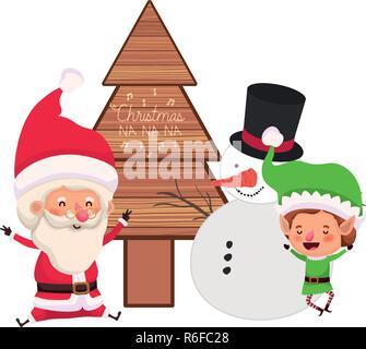 Santa Claus et Elf avec arbre de noël et bonhomme de neige