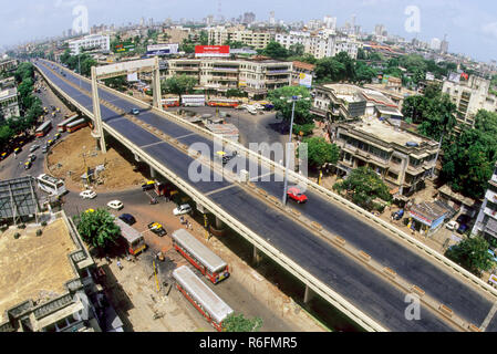 L'autopont de dadar bridge, Bombay Mumbai, Maharashtra, Inde Banque D'Images