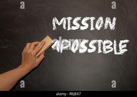 Part changer le mot impossible de possible. Je l'alphabet, m'être effacées à partir d'un tableau. Concept de changement. Banque D'Images