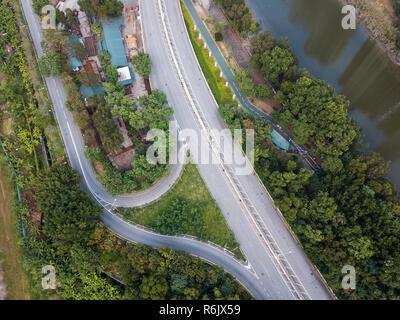 Vue de dessus de circulation routière Banque D'Images