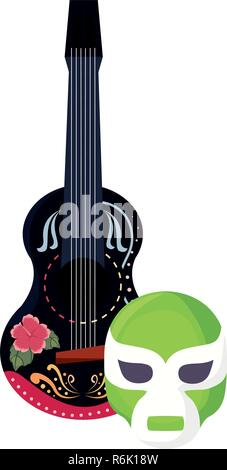 Guitare et masque le jour des morts vector illustration Banque D'Images