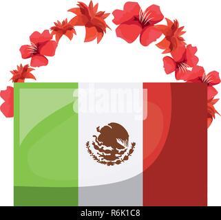 Drapeau Mexicain et fleurs le jour des morts vector illustration Banque D'Images