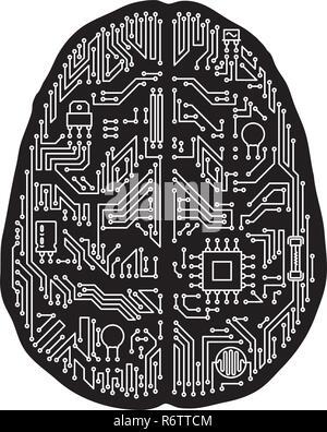 Cerveau humain isolé en forme de carte mère illustration vectorielle. Le noir et blanc de l'intelligence artificielle et de la technologie du concept. Banque D'Images