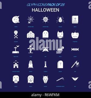 Halloween icône blanche sur fond bleu. 25 Icon Pack Banque D'Images