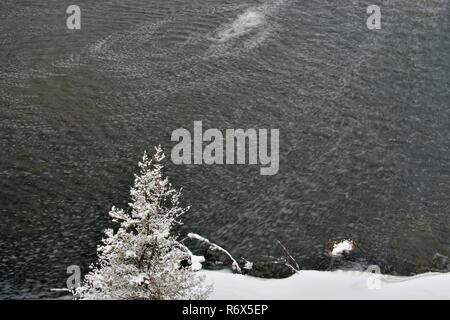 Ouvrez l'eau et la neige sur le ruisseau Junction en hiver, le Grand Sudbury, Ontario, Canada Banque D'Images