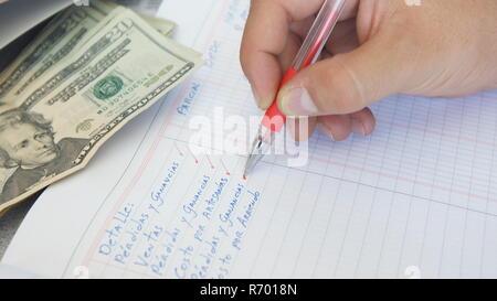 Approche d'une main humaine écrit: les pertes et profits, ventes, coût de la location dans un grand livre sur la table de 20 dollars sur le livre Banque D'Images