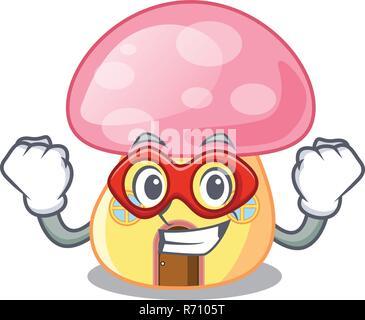 Maison de fées super héros sur une caricature de champignons Banque D'Images