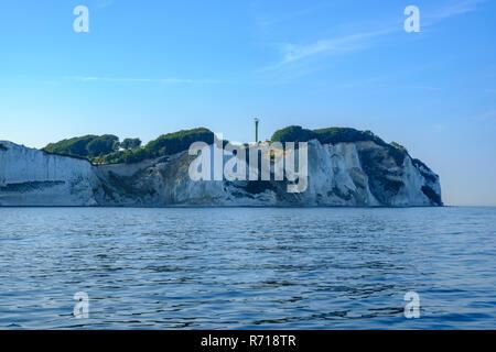 Møns Klint, les falaises de craie de l'île de Moen, le Danemark, la Scandinavie, l'Europe, vues du offcoast.