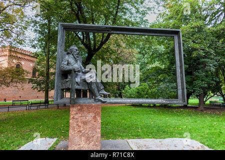 Monument à Jan Matejko Cracovie, Pologne, 19ème siècle peintre polonais (1838-1893). Banque D'Images