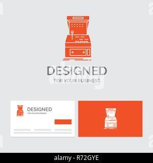 Cartes De Visite Orange Avec Logo Marque Template Dentreprise Modele Pour Arcade Console Jeu Machine Jouer