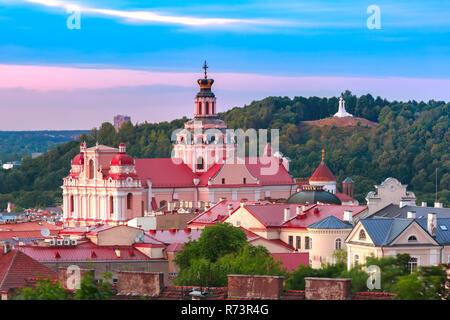 Vieille ville au coucher du soleil, Vilnius, Lituanie