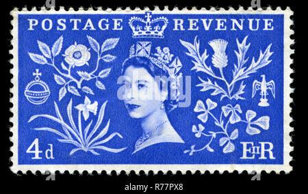 Timbre-poste de la Grande-Bretagne à la Reine Elizabet II série Coronation publié en 1953