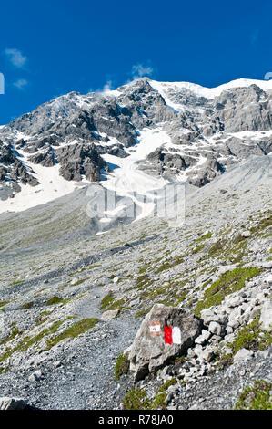 Sentier rouge et blanc marquages, sentier de randonnée, sommet du mont Ortler, 3905 m, Alpes Ortler, Stelvio National Park près de Sulden, Solda Banque D'Images