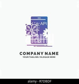 La Reecriture Et Le Developpement Api Application Codage Mobile Purple Logo Dentreprise Modele