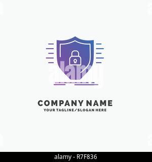 La Défense, pare-feu, protection de l'environnement, la sécurité, la protection de logo d'entreprise violet Modèle. Place pour accroche.