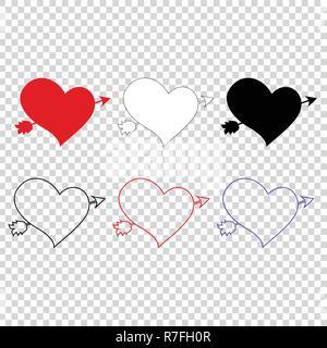 Vector icon set de différents coeurs percés de flèche sur fond transparent. Les éléments d'un mariage ou une carte de vœux de la saint valentin. Lovestru Banque D'Images