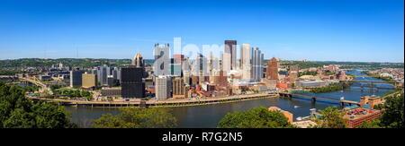Vue panoramique du centre-ville de Pittsburgh, Pennsylvanie Banque D'Images