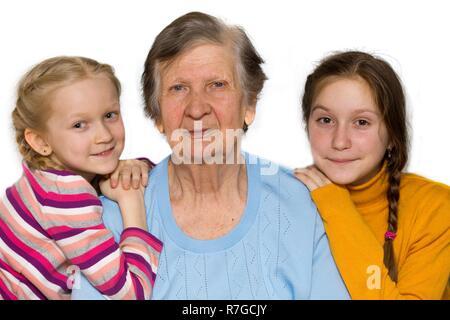 Portrait d'un grand-mère, arrière-petites-filles, close-up Banque D'Images