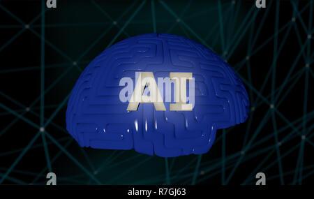 L'Intelligence Artificielle concept illustration de rendu 3D de l'IA et de l'abrégé du cerveau de scketch tech network technology background Banque D'Images