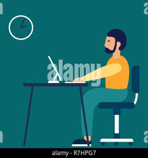 Un homme est assis sur le lieu de travail au bureau. Vector illustration dans un style plat Banque D'Images