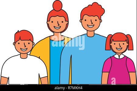 Mère Père Fils et Fille famille