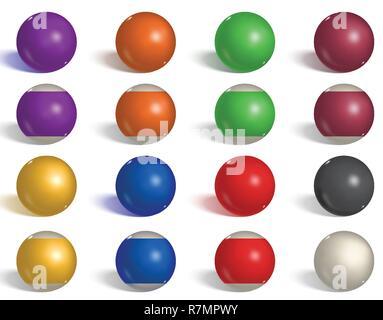 Boules de billard, piscine collection. Snooker. Marche arrière, côté vide, boules réalistes sur fond blanc. Vector illustration. Banque D'Images
