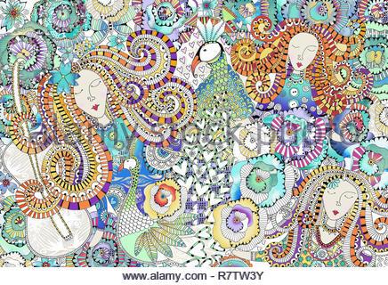 Visages de femmes, des paons, des coeurs et des fleurs dans des motifs très complexes Banque D'Images