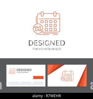 Cartes De Visite Orange Avec Logo Marque Template Modele Dentreprise Pour Lhoraire Classes Calendrier Rendez