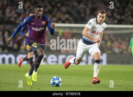 Barcelone, Espagne. 11Th Dec 2018. Ousmane Dembélé (FC Barcelone) et des clins d'Harry ( Tottenham Hotspur) lors de la Ligue des Champions, Groupe B match de football entre le FC Barcelone et Tottenham Hotspur le 11 décembre 2018 au Camp Nou à Barcelone, Espagne - Photo Laurent Lairys / DPPI Crédit : Laurent Locevaphotos Lairys/agence/Alamy Live News Banque D'Images