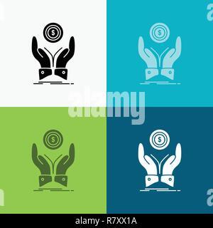 Coin, Main, Pile, dollar, icône sur le revenu divers antécédents. glyph style design, conçu pour le web et app. Illustration vecteur EPS 10 Banque D'Images