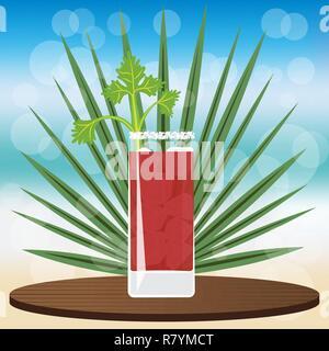 Cocktail sanglant se marier sur bac classique en bois , sur fond flou flou avec vector illustration pour le web et print, l'invitation et les menus pour bar Banque D'Images