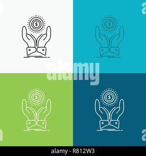 Coin, Main, Pile, dollar, icône sur le revenu divers arrière-plan. Design de style de ligne, conçu pour le web et app. Illustration vecteur EPS 10 Banque D'Images