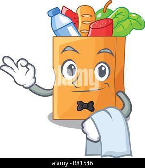Serveur dans un sac alimentaire réaliste character Banque D'Images