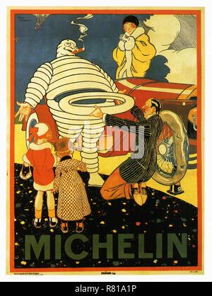 Michelin à la rescousse - Vintage Car's affiche publicitaire Banque D'Images