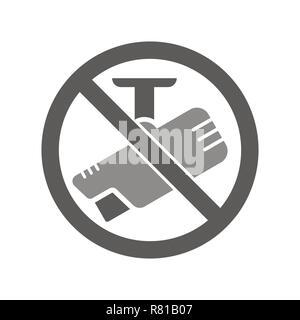 Aucun signe de l'appareil photo avec l'étiquette pour l'impression et du contenu numérique icône vecteur Banque D'Images