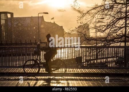 Cycliste sur un pont sur le canal à Port Sud, Sydhavn, Copenhague, capitale nationale du Danemark, Danemark Banque D'Images