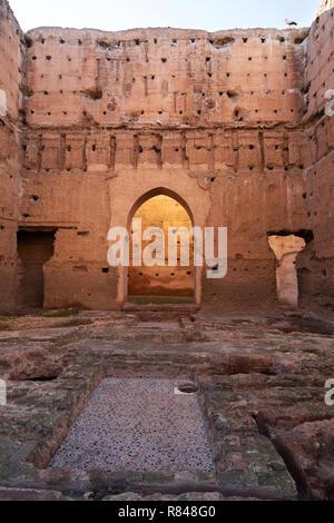Le pavillon de l'auditoire, Palais El Badi marrakech maroc - ruines du palais Badi, la médina, Marrakech Maroc Afrique du Nord Banque D'Images