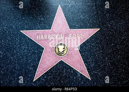Los Angeles, CA / USA - Juillet 26, 2018: Harrison Ford Étoile au Hollywood Walk of Fame sur Hollywood Boulevard, acteur, écrivain et producteur de films Banque D'Images