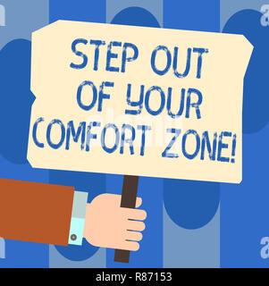 Écrit remarque montrant un pas hors de votre zone de confort. Photo d'objets américains font des choses différentes quitter la routine hu main tenant de l'analyse P Couleur