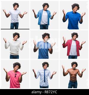 Collage de young african american man sur fond isolé clueless et expression confus avec les bras et les mains posées. Doute concept. Banque D'Images
