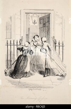 Le matin,Gossip du plus grand fléau de la vie, pub. 1847 (gravure). Banque D'Images